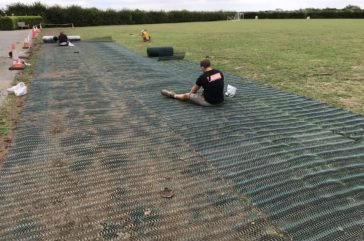Grassmesh install- before the grass has grown through