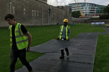 Tower of London, track mat hire install
