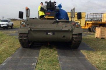 Tank running on Duradeck track mats