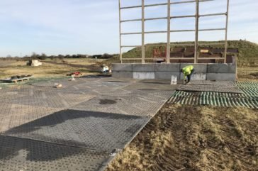 Temporary trackway install, protecting sensitive grass area