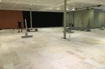 Pedestrian flooring protecting carpet for temporary supermarket