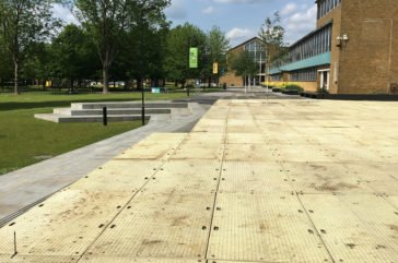 Block paving protection with Trakmats
